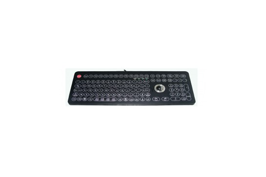 Industrial membrane keyboard with TrackBall and part numeric